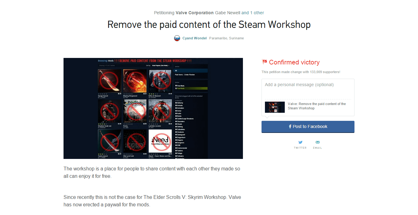 Valve petition to remove paid mods