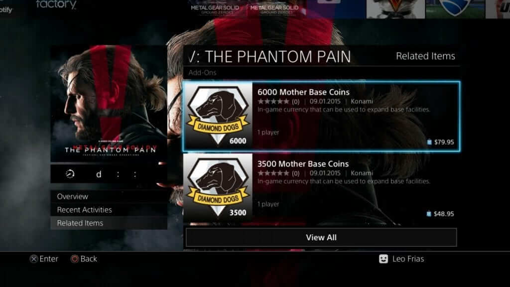Metal Gear Solid 5: The Phantom Pain Microtransaction