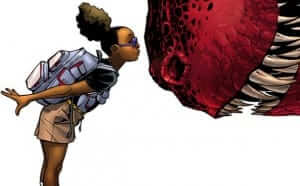 Moon Girl (Right) and Devil Dinosaur (Left). Wait, no. That's not right. Oh well. No going back now.