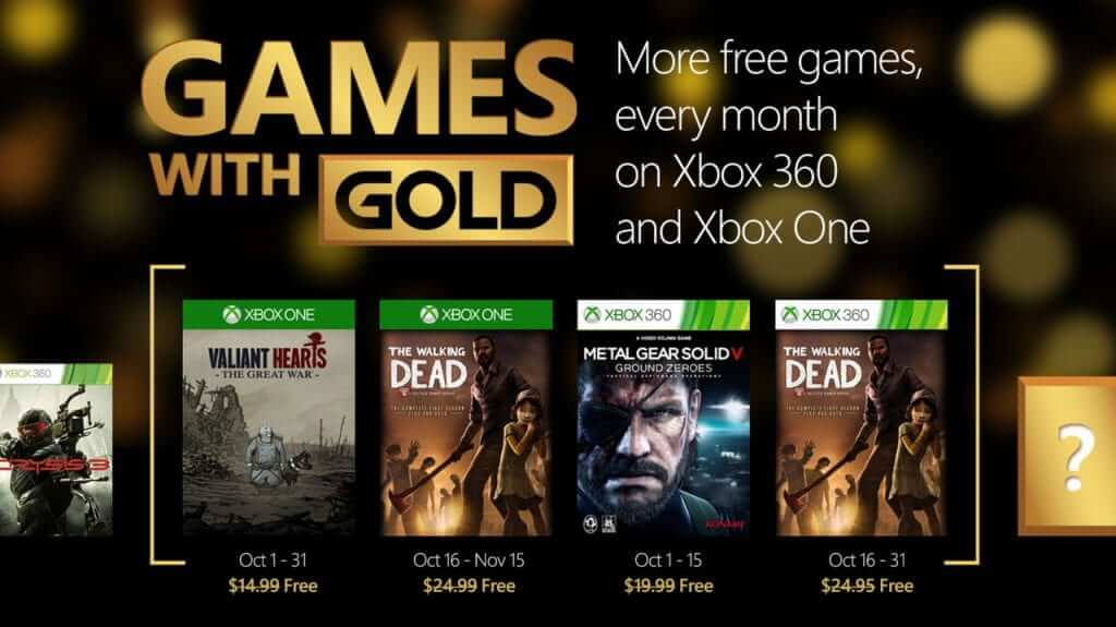 October Free Games With Gold Revealed