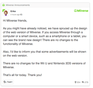 Miiverse Announcement