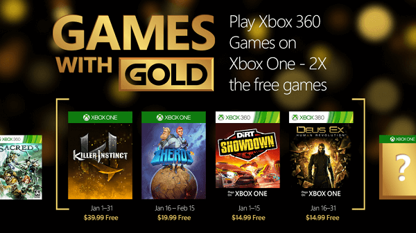 Microsoft has an interesting line-up for January's Games with Gold.