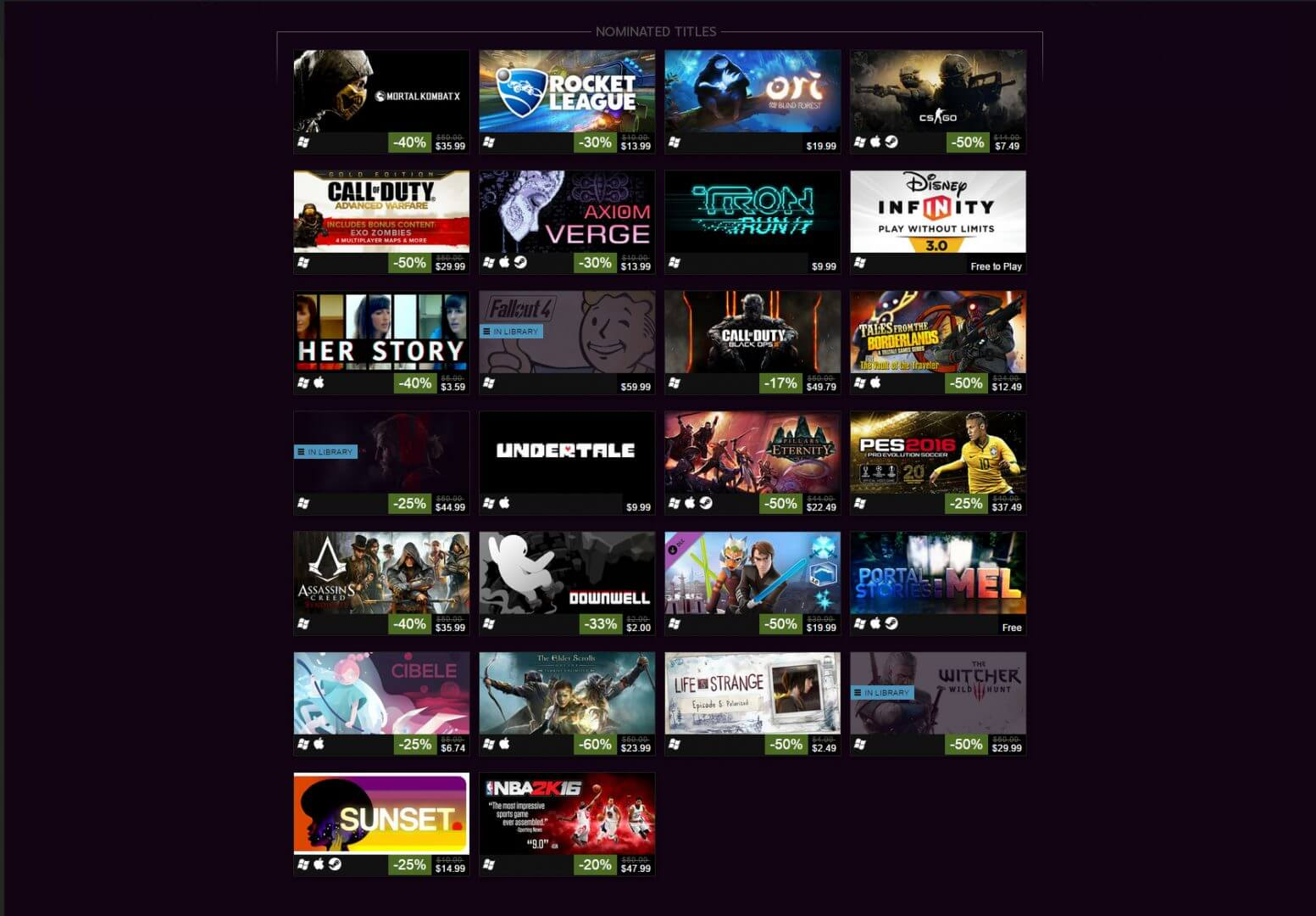 List of 2015 Game Awards Titles for Sale on Steam