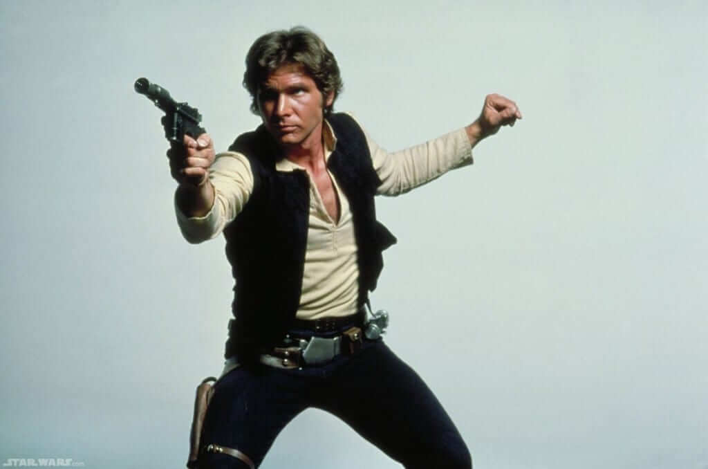 Star Wars Young Han Solo posing with blaster