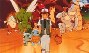 Ash leads the attack on Mewtwo.