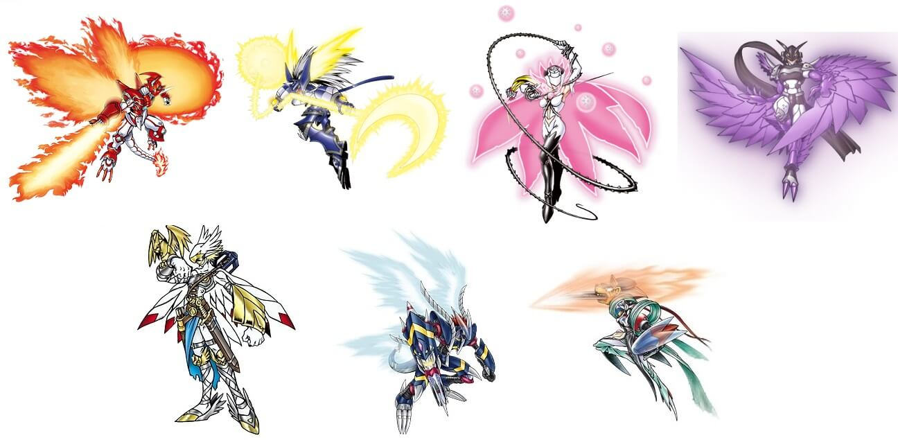 From top left to bottom right we have ShineGreymon, MirageGaogamon, Rosemon, Ravemon, Valkyrimon, Darkdramon, and Chaosmon.