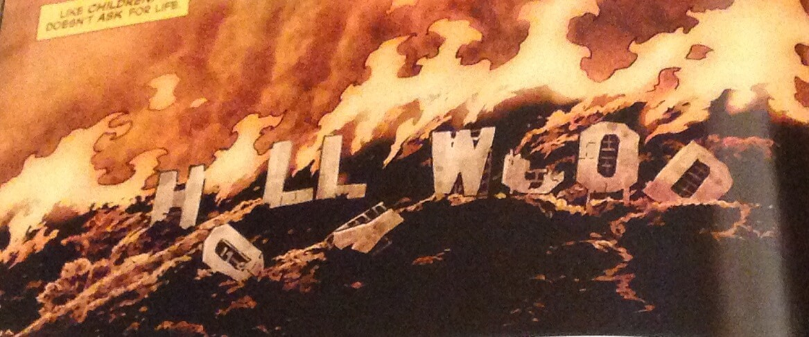 The Hollywood sign is in flames from the very start of Suiciders.