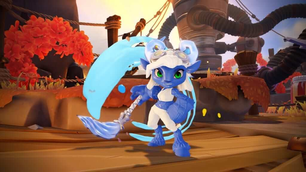 Power Blue Splat's character stands out vividly in-game against the orange elements.