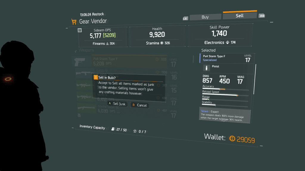 You Can Sell All Of Your Junk With One Button The Division