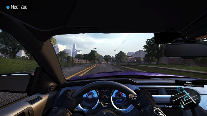 The game features a cockpit view with detailed features.