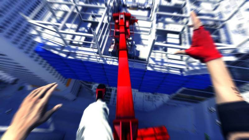 Mirror's Edge is filled with massive leaps and plenty of action.
