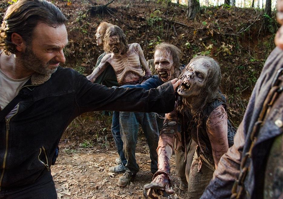 Rick facing a walker road block