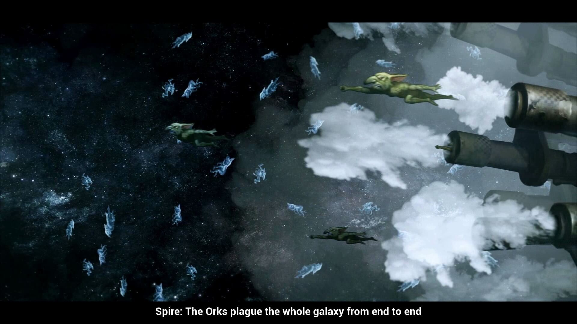 The Orks also launch goblins as missiles.