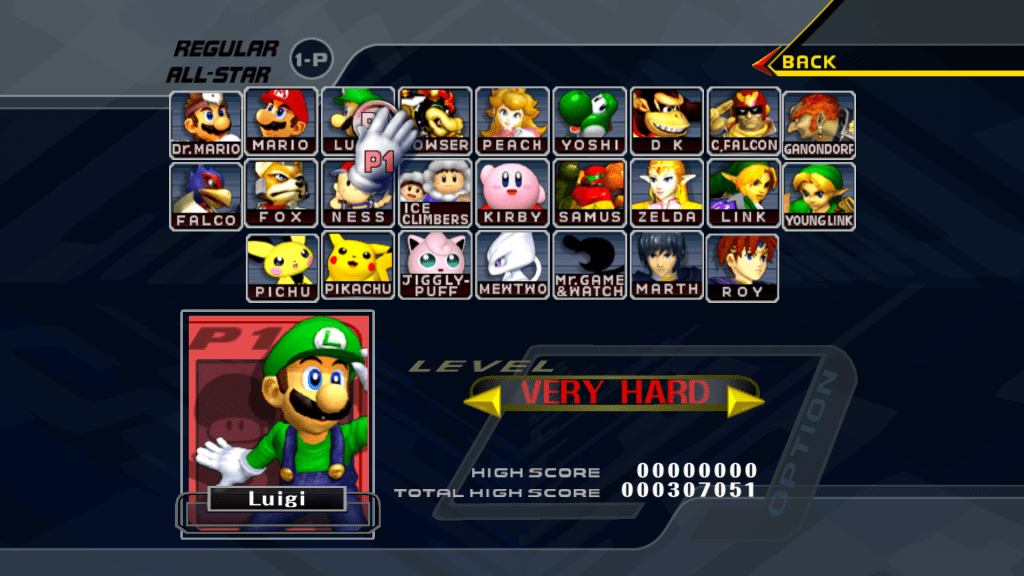 super smash bro character selection screen