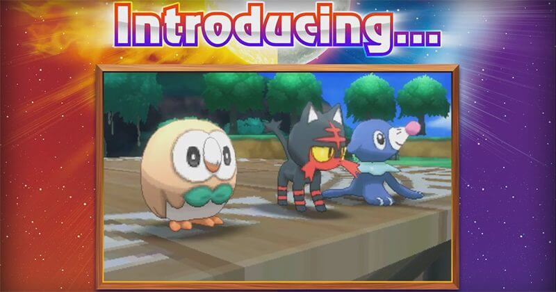 From left to right: Rowlet, Litten, and Poppilo - the three new starter Pokemon Sun.
