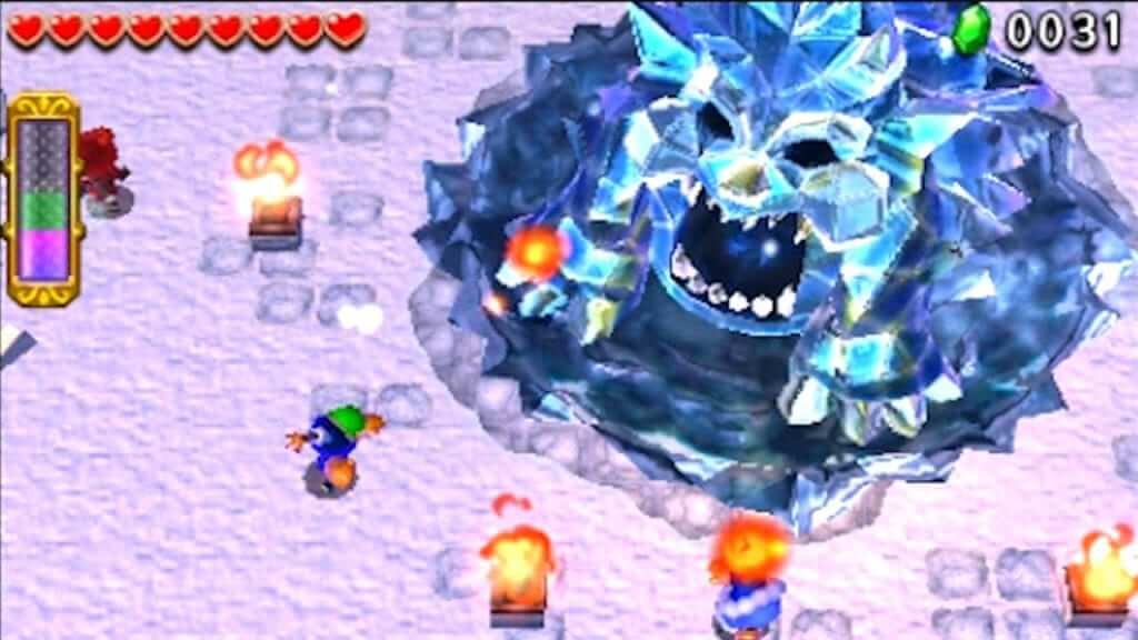 In single player, a hero has to throw a fireball into this boss's mouth to stun it, then run around and throw fire at the ice spikes on its body. Three players can surround it and make quick mincemeat out of it, though.