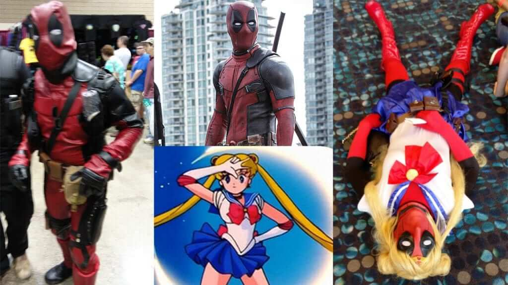 """Yep, that's Deadpool crossed with Sailor Moon. The guy (that's right, guy) is also wearing panties that say """"I <3 Spidey."""""""