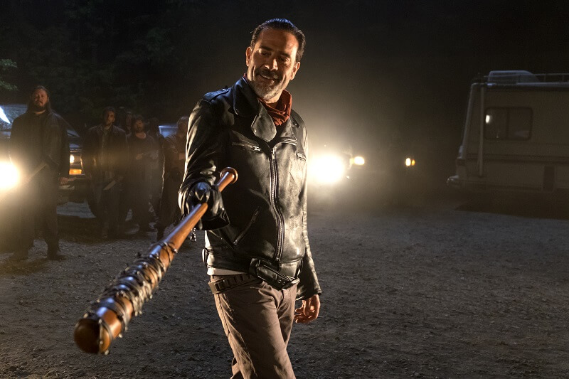 Jeffery Dean Morgan pointing with Lucille
