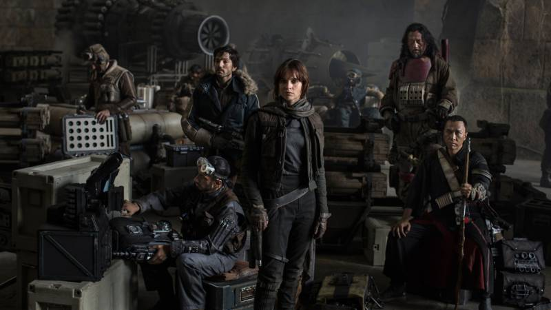 The cast of Rogue One: A Star Wars Story.