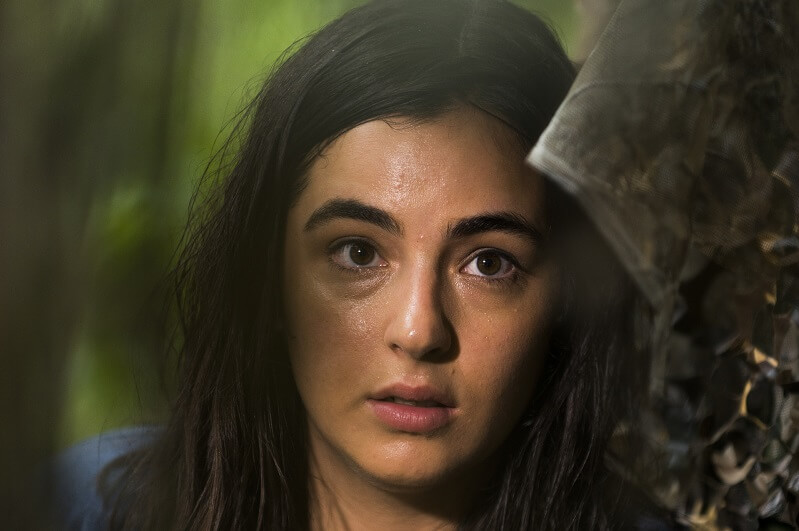 Tara on The Walking Dead peering out from hiding