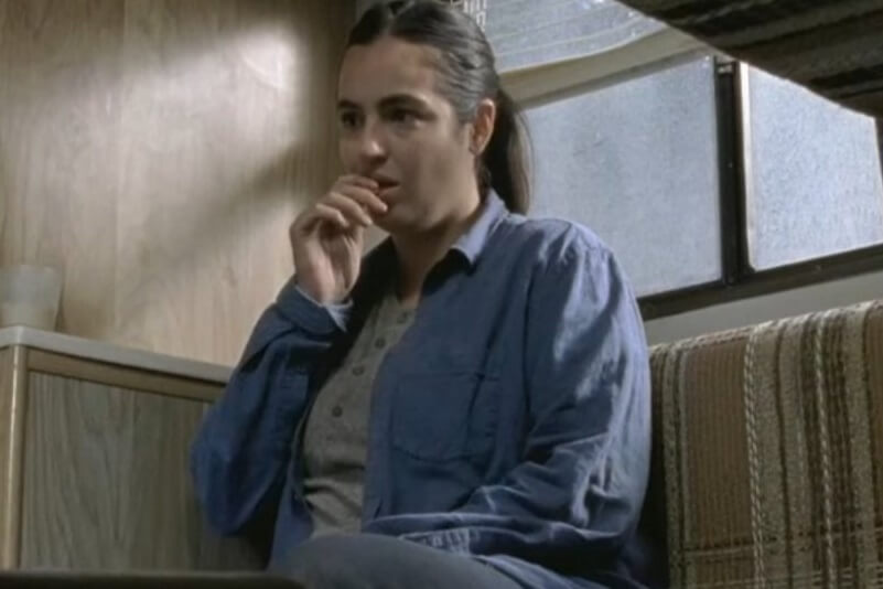 Tara in the RV looking concerned on The Walking Dead