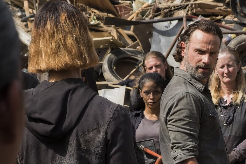 Rick Grimes faces an unknown community on the Walking Dead