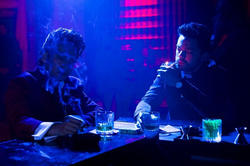 Dominic Cooper as Jesse Custer, Vik Sahay as Frank Patel - Preacher _ Season 2, Episode 2 - Photo Credit: Skip Bolen/AMC/Sony Pictures Television