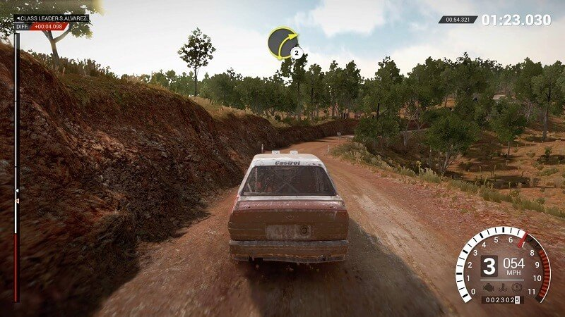 3rd person view of racing in Dirt 4