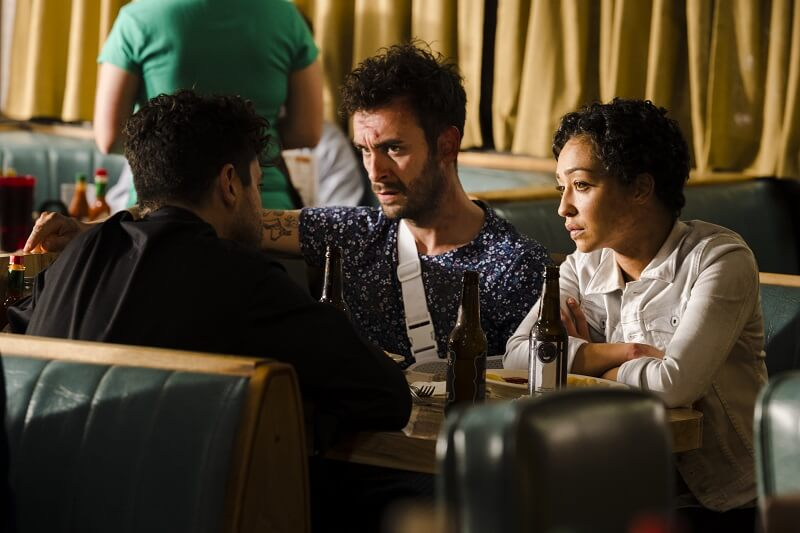 Dominic Cooper as Jesse Custer, Joseph Gilgun as Cassidy, Ruth Negga as Tulip O'Hare - Preacher _ Season 2