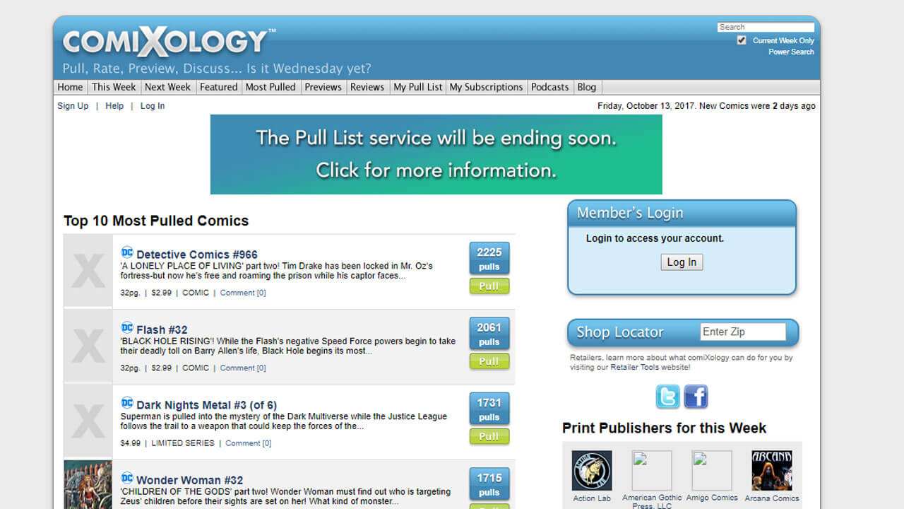 Comixology to End Pull List Service for Comic Shops