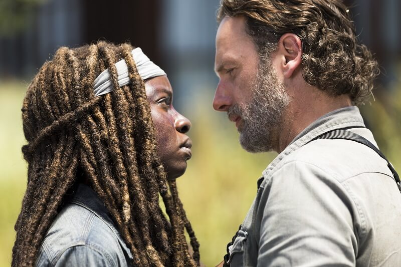Andrew Lincoln as Rick Grimes, Danai Gurira as Michonne