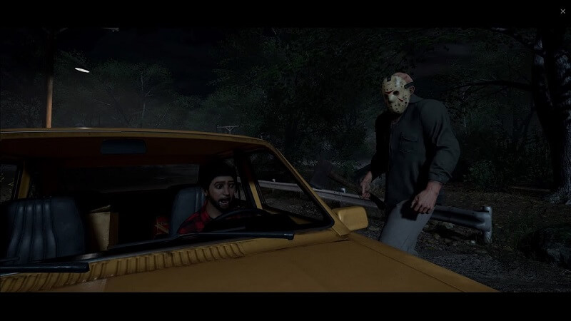 Friday the 13th Jason trying to catch escaping counselor