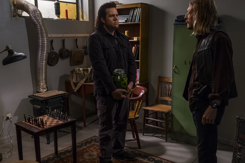 Josh McDermitt as Dr. Eugene Porter, Austin Amelio as Dwigh - The Walking Dead _ Season 8