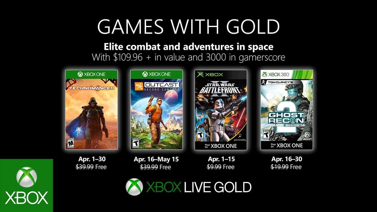 Xbox Games With Gold Announced For April