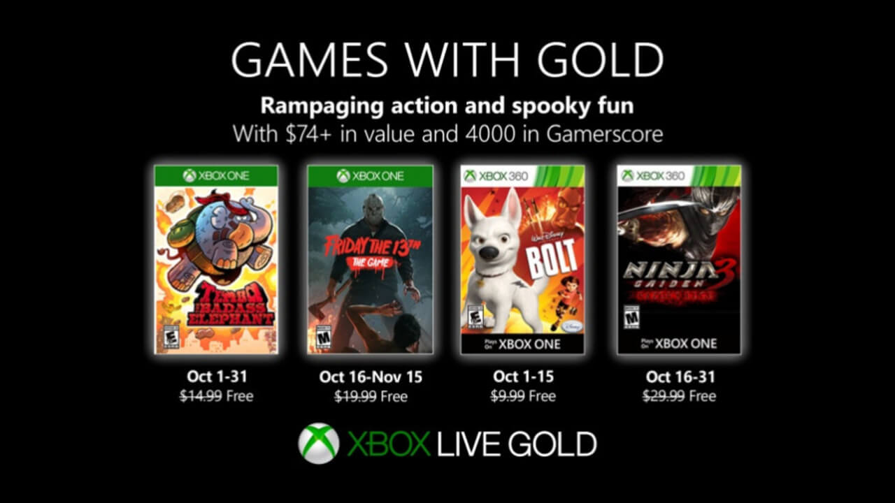 Free Xbox Games with Gold for October 2019