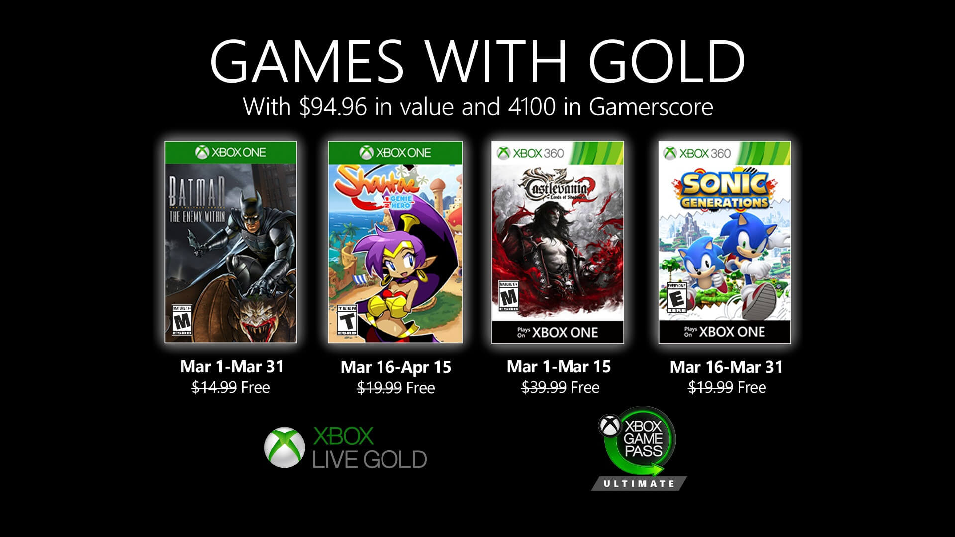 March 2020 Games with Gold Titles Announced