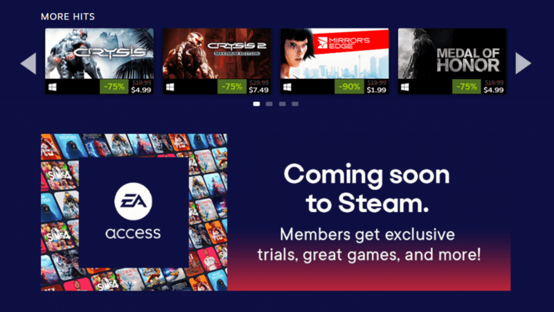 EA adds games on Steam