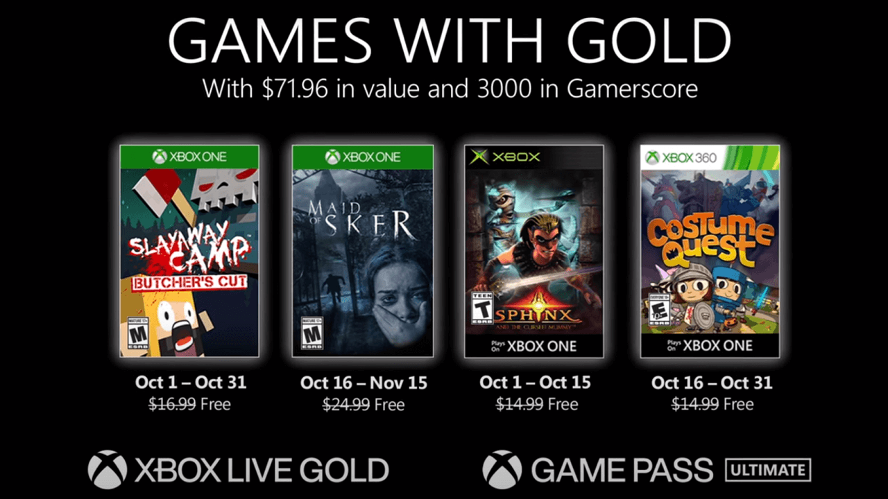 Games with Gold for October 2020 Lineup Revealed