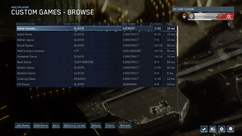 Master Chief Collection Game Browser