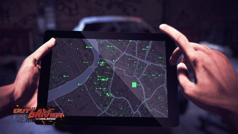Outlaw Driver Simulator tablet map