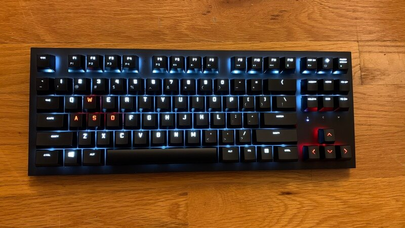 Omen Spacer picture of keyboard lit up with red and white lights
