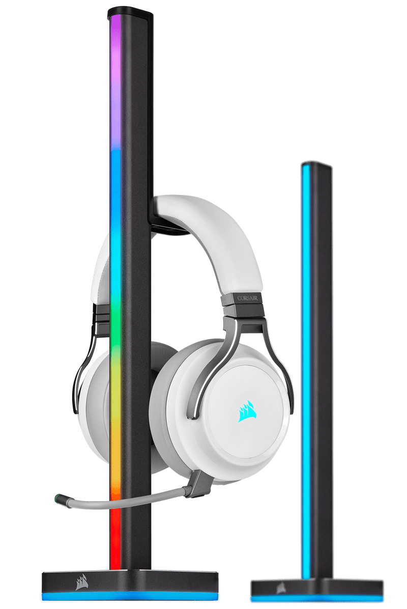Corsair iCUE LT100 - Picture of tower with headset hanging on it