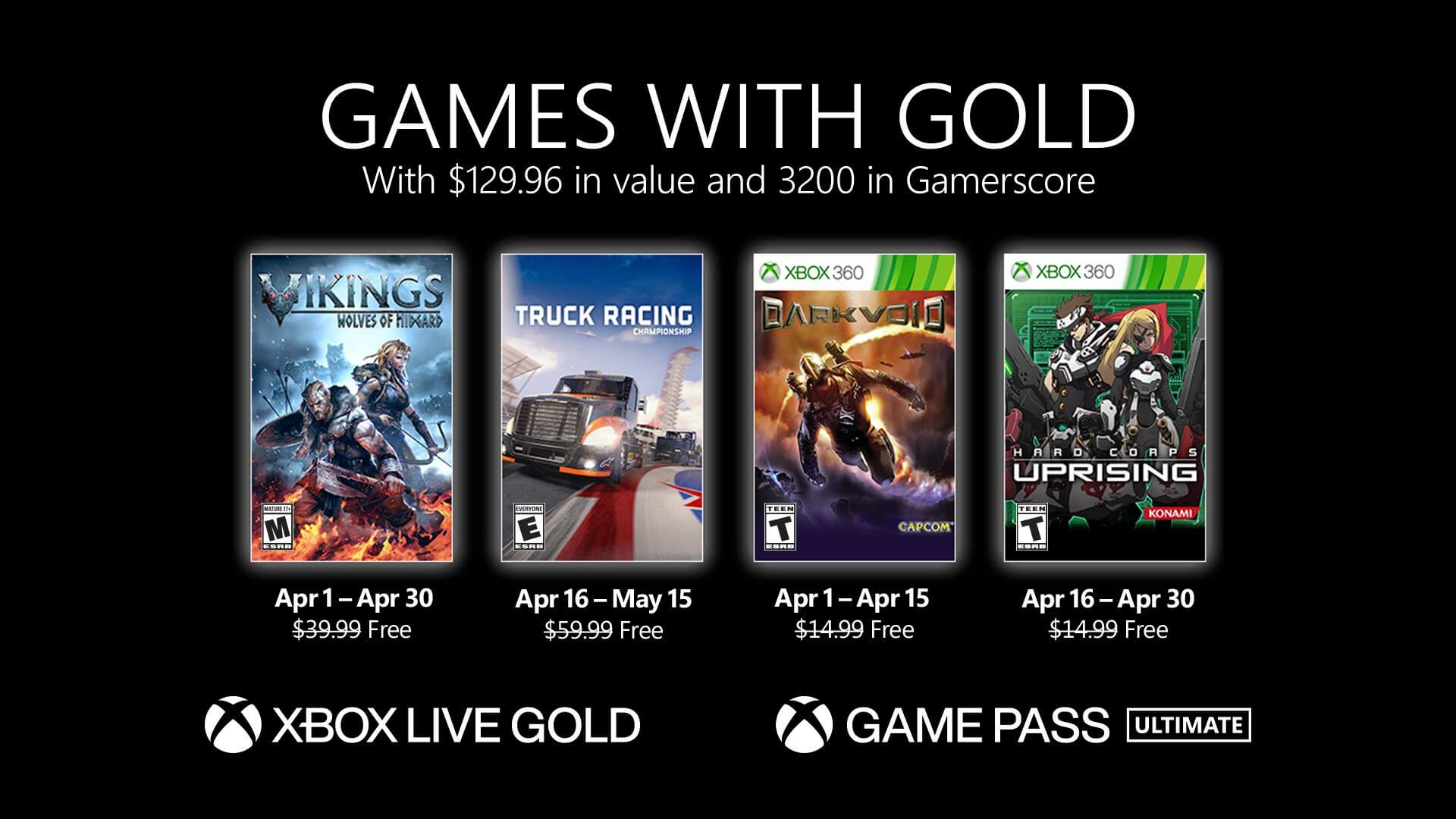 Xbox Games With Gold For April Announced