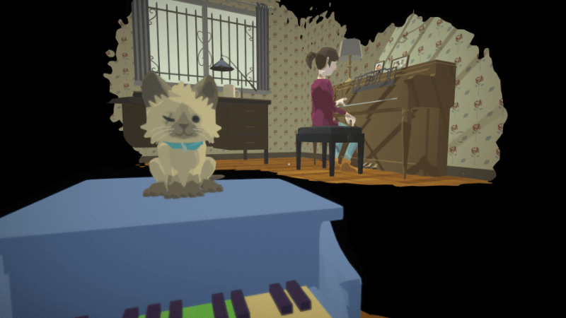 cat on toy piano