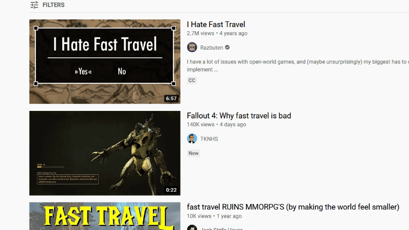 fast travel YouTube search