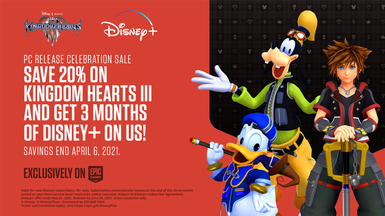 Kingdom Hearts III on Epic Store Offers 3 Months of Disney+ Subscription
