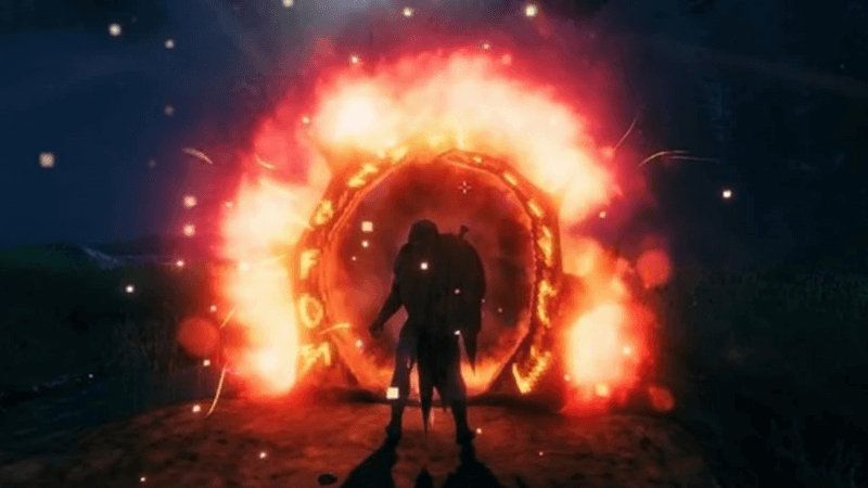 standing in front of glowing portal