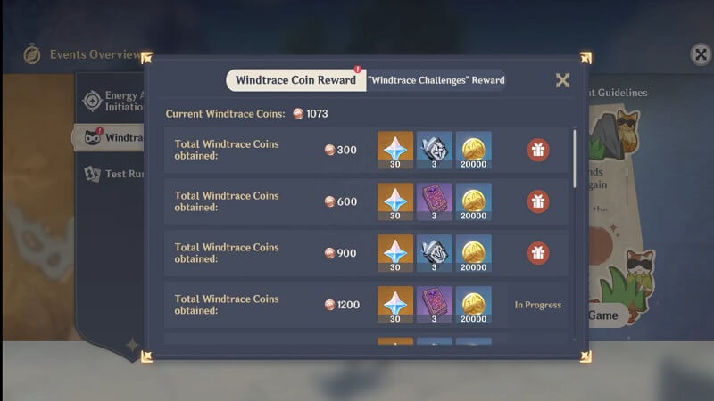 Windtrace coins rewards in Genshin Impact