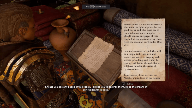 Hidden One letter from Bayek of Siwa after talking to Hytham