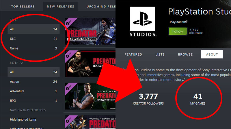 PlayStation Studios PC Steam page